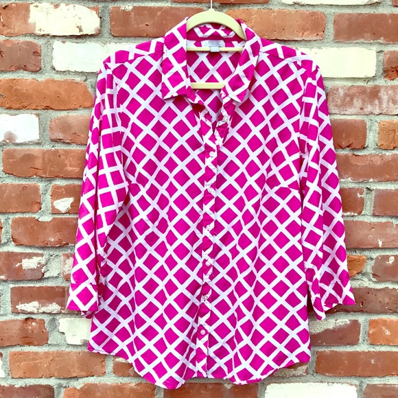 f718bc6fbd3d3b jcpenney Tops - Pink White women s blouse in silk cotton. Size XL.